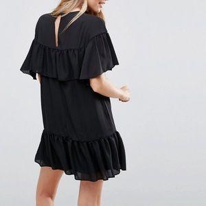 NWT ASOS Black Sheer Shift Dress Ruffle Pephem